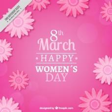 妇女节粉红色背景的花卉背景