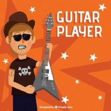 橙色背景吉他手