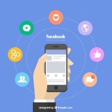 脸谱网背景与移动和图标