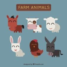 平板设计中的农场动物