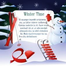 冬季背景雪人和红色元素