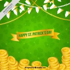 绿色背景与圣帕特里克日硬币
