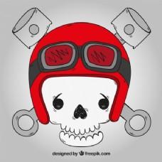 头骨背景:红色头盔和手绘眼镜