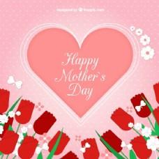 心脏背景与母亲节玫瑰