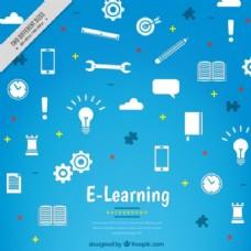 蓝色背景与不同的在线学习元素