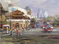 高清建筑街景油画装饰画