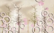 圆圈花鸟树木电视背景墙