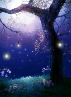 梦幻紫色月下枫树玄关背景墙装饰画