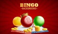 红色背景上的三色球和硬币