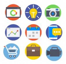 扁平数字营销图标ICON
