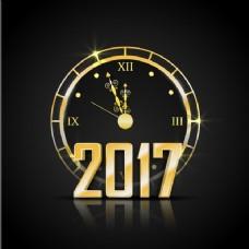 梦幻背景与新年金色时钟