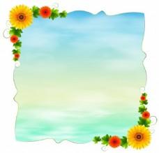 空白的蓝色模板,白色背景下的鲜花插图
