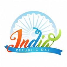 印度共和国日蓝色背景