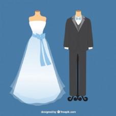 可爱的婚纱和新娘礼服