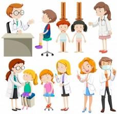 男孩和女孩访问医生插图