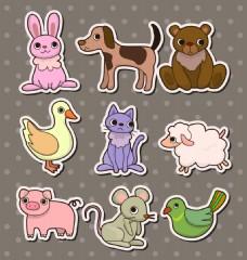 动物儿童卡通贴纸标签矢量