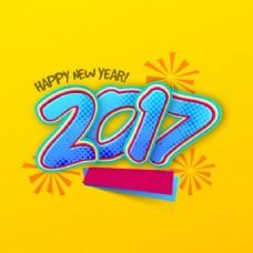 黄色背景,新年蓝色元素