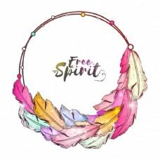 丰富多彩的民族的羽毛和自由精神设计波希米亚风格的文本框。