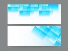 用天蓝色几何元素设置网站标题或横幅。