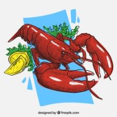 矢量纯正美味大龙虾