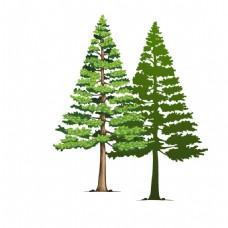手绘绿色大树元素