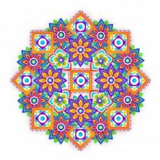 色彩鲜艳的花卉装饰元素设计。创作抽象艺术背景。