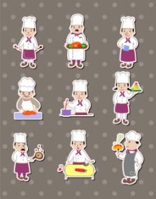 厨师儿童卡通贴纸标签矢量