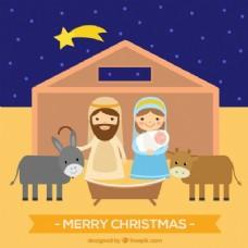 平面设计中的耶稣诞生场景