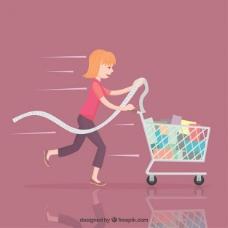 购物车的女人
