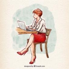 手绘女人的笔记本电脑