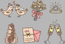 结婚婚礼元素免抠png透明图层素材