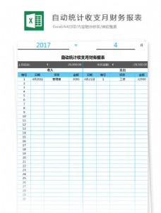 自动统计收支月财务报表Excel模板