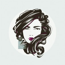 长发卷发时尚女性头像矢量