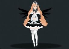 AI卡通人物插画黑暗风哥特萝莉