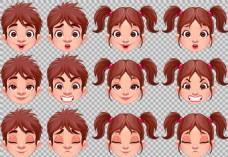 各种发型小孩头像免抠png透明图层素材