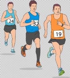 手绘跑步的男人免抠png透明图层素材
