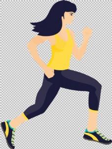 黄衣服女人跑步者免抠png透明图层素材
