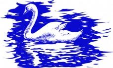 蓝铅笔手绘插画天鹅