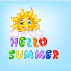 你好夏季艺术字和太阳矢量