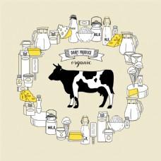 卡通奶牛乳制品图片2