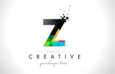 彩色三角形字母Z标志图片