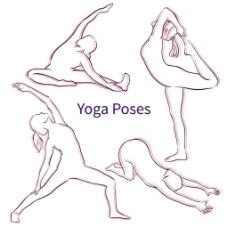 手绘瑜珈女人图标图片