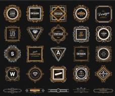 金边欧式花纹复古华丽装饰Logo设计矢量