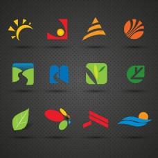 卡通环保树叶元素logo设计