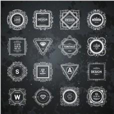 花纹欧式复古华丽装饰Logo设计矢量