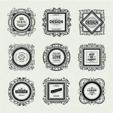 欧式花边复古华丽装饰Logo设计矢量