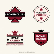 在平面设计中收集四个赌场标志