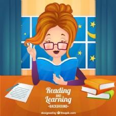 戴眼镜看书的女人的背景