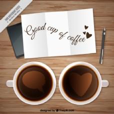 带有音符背景的咖啡杯