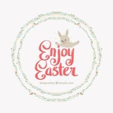 复活节背景与花环和兔子